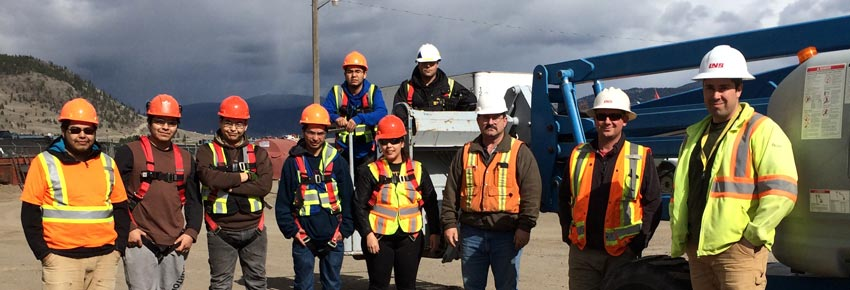 Infracon & Conyat friendship society 2015. Safety training with everyone in proper PPE aboriginal commitment First Nation Partners Group of Companies Infracon Conyat Friendship Society March 2015