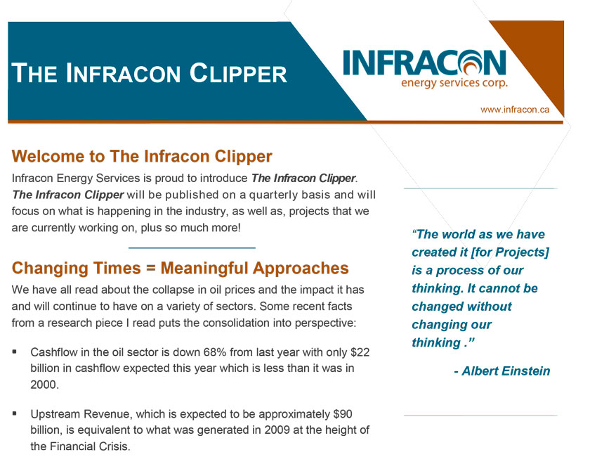 infracon energy services Infracon Energy Home Page June 2015 Clipper Featured Image