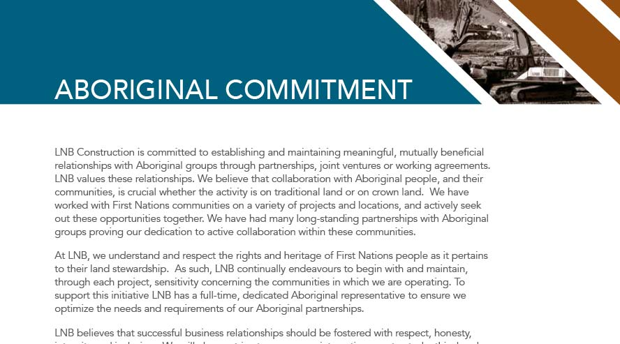 LNB Construction Aboriginal Brochure  LNB Construction Aboriginal Commitment 2015 LNB Aboriginal Brochure feature image infracon energy services Infracon Energy Home Page LNB Aboriginal Brochure feature image