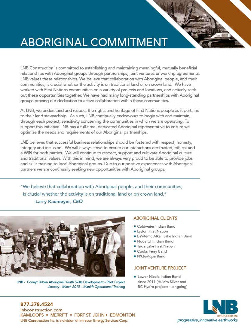 LNB Construction Aboriginal Commitment 2015 LNB Aboriginal Partner Brochure Full web image
