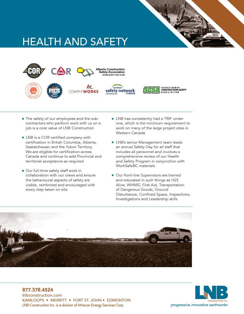 LNB Safety Associations and info about their health and safety practices  LNB Construction Health & Safety 2015 LNB Safety Brochure Full web image